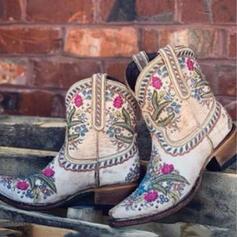Женский Микроволокно Толстый каблук Полусапожки с Цветок вышивка обувь