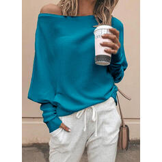 Solid One Shoulder Casual Sweaters