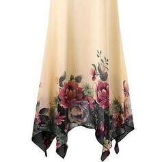 Duży rozmiar Kwiatowy Nadruk Bez Rękawów Suknie shift Długośc do kolan Nieformalny Elegancki Sukienka