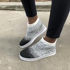 De mujer Malla Tacón plano Botas al tobillo Encaje con Color sólido Bordado zapatos