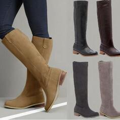 Pentru Femei PU Toc jos Cizme până la genunchi cu Fermoar pantofi