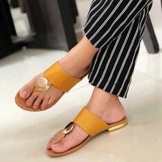 Women's PU Flat Heel Sandals Flats Peep Toe Flip-Flops Slippers With Rivet Hollow-out shoes