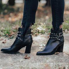 Donna Similpelle Tacco spesso Stivali alla caviglia Punta a punta con Rivet Cerniera scarpe