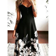 Nadrukowana/Kwiatowy Bez rękawów W kształcie litery A Łyżwiaż Przyjęcie/Elegancki Maxi Sukienki