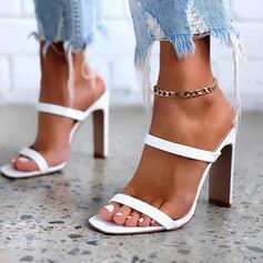 Kvinnor PU Stilettklack Sandaler Pumps Peep Toe Fyrkantig tå med Ihåliga ut Solid färg skor
