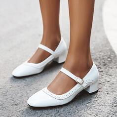 De mujer PU Tacón ancho Salón con Hebilla zapatos