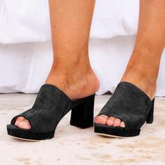 Kvinnor PU Tjockt Häl Plattform Peep Toe Tofflor Klackar med Solid färg skor
