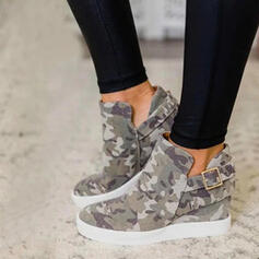 Women's Canvas Flat Heel Flats Boots Ankle Boots With Buckle shoes