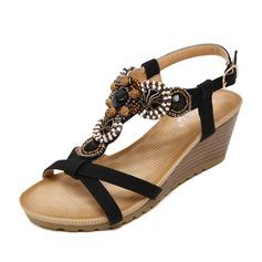 De mujer Cuero Tipo de tacón Sandalias Cuñas Encaje Solo correa con Rhinestone zapatos