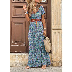 Print Short Sleeves A-line Skater Boho/Vacation Maxi Dresses