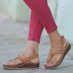 Dla kobiet PU Obcas Koturnowy Sandały Japonki Z Jednolity kolor obuwie