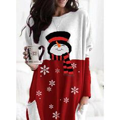 Stampa Blocchi di colore Girocollo Maniche lunghe Felpa natalizia