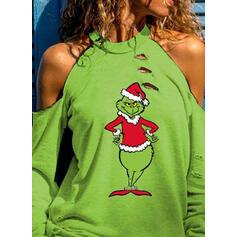 Stampa Spalle esposte Maniche lunghe Casuale Natale Camicie