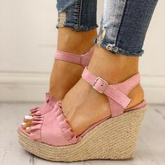 Women's PU Wedge Heel Sandals Peep Toe With Buckle shoes