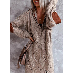 Blocchi di colore Scollatura a V Casual Lungo Abito maglione
