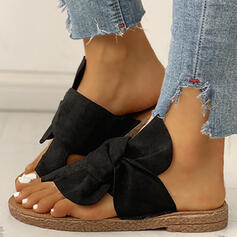 De mujer Ante Tacón plano Sandalias Planos Encaje Pantuflas con Bowknot zapatos