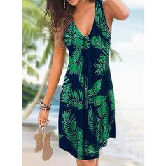 Impresión/Floral Sin mangas Tendencia Sobre la Rodilla Casual/Vacaciones Tanque Vestidos