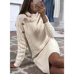 Solido Cavo Knit Dolcevita Casual Lungo Abito maglione