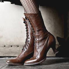 Mulheres PU Salto de gatinha Botas Botas na panturrilha com Aplicação de renda sapatos