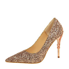 Mulheres Espumante Glitter Salto agulha Bombas Fechados com Espumante Glitter Salto de joias sapatos