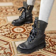 Donna PU Tacco spesso Stivali alla caviglia Martin boots Punta rotonda con Allacciato Colore giuntura scarpe
