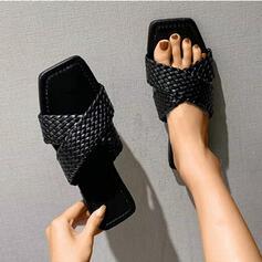 De mujer Cuero Tacón plano Sandalias Salón Solo correa Pantuflas zapatos