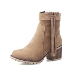 Pentru Femei PU Toc gros Botine Deget rotund cu Ciucure pantofi
