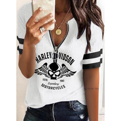 Print Figure V-Neck Short Sleeves Casual Knit Blouses