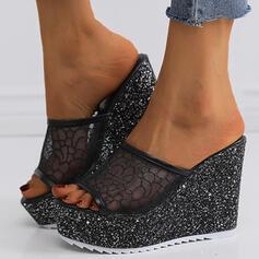 De mujer Tela Malla Tipo de tacón Sandalias Plataforma Cuñas Encaje Pantuflas Tacones con Encaje zapatos