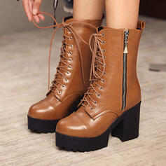Pentru Femei Imitaţie de Piele Toc gros Cizme până la jumătatea gambei Deget rotund cu Lace-up pantofi