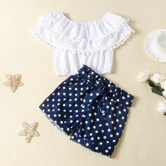 2-pieces Toddler Girl Bowknot Polka Dot Set
