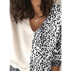 Animal Print Patchwork V-Neck Sweaters