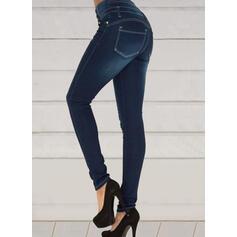 Bavlna Dlouho Elegantní Sexy hlubokým výstřihem patch Knoflík Kalhoty Denim & Džíny