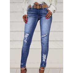Pevný Dlouho Neformální Plus velikost hlubokým výstřihem patch Bandáž Kalhoty Denim & Džíny