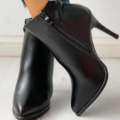 Dámské PU Jehlový podpatek Kotníkové Boty Špičatá špička S Solid Color obuv
