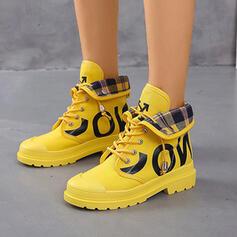 De mujer Lona PU Tacón bajo Cerrados Botas Martin botas Cima mas alta Encaje con Cordones zapatos