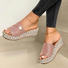 Dla kobiet Zamsz Obcas Koturnowy Sandały Koturny Otwarty Nosek Buta Kapcie Z Pozostałe obuwie