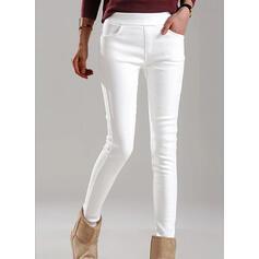 Pevný Oříznuté Elegantní Plus velikost hlubokým výstřihem patch Kalhoty