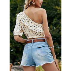 PolkaDot One Shoulder 1/2 Sleeves Casual Blouses