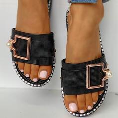 De mujer PVC Tacón plano Sandalias Planos Encaje Pantuflas con Rhinestone Perlas de imitación Hebilla zapatos
