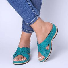 Women's PU Flat Heel Sandals Peep Toe Slippers With Hollow-out Flower shoes