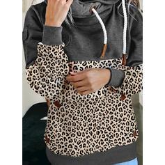 Leopard Dlouhé rukávy Kapuce