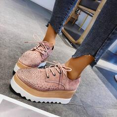 Dla kobiet PU Płaski Obcas Plaskie Niesznurowane mokasyny Z Stras/ Krysztal Górski Sznurowanie obuwie