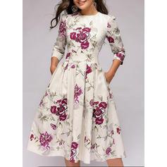 Impresión/Floral Mangas 3/4 Acampanado Hasta la Rodilla Vintage/Casual/Fiesta/Elegante Vestidos