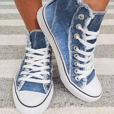 Dla kobiet Płótno Płaski Obcas Plaskie Niskie góry Round Toe Espadrille Z Sznurowanie obuwie