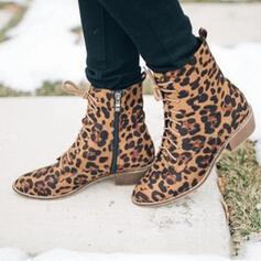 De mujer Ante Tacón ancho Botas al tobillo con Cordones Color sólido zapatos