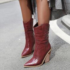 De mujer PU Tacón ancho Botas Botas longitud media zapatos