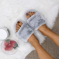 Mulheres Tecido Sem salto Chinelos com Pele sapatos