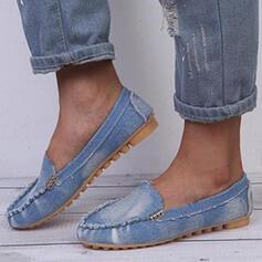 Dla kobiet PU Płaski Obcas Plaskie Round Toe Niesznurowane mokasyny Poślizgnąć się na Z Rzep Jednolity kolor obuwie