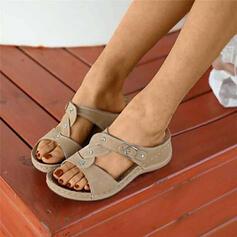 De mujer PU Tipo de tacón Sandalias Pantuflas con Crystal zapatos